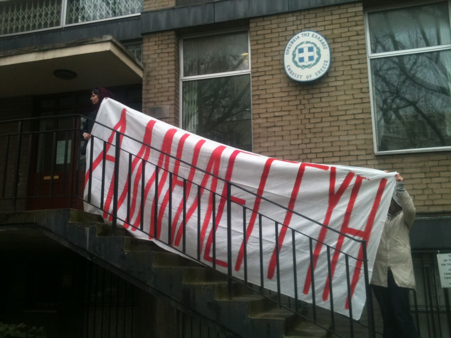 On the steps of the Greek Embassy.